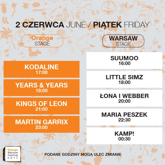 Rozkład koncertów 2 czerwca Orange Stage: kodaline 17:00, Years & Years 19:00, Kings of Leon 21:00, Martin Garrix 23:00. Warsaw Stage: SUUMOO 16:00, Little SIMZ 18:00, Łona i Webber 20:00, Maria Peszek 22:30, Kamp!00:30